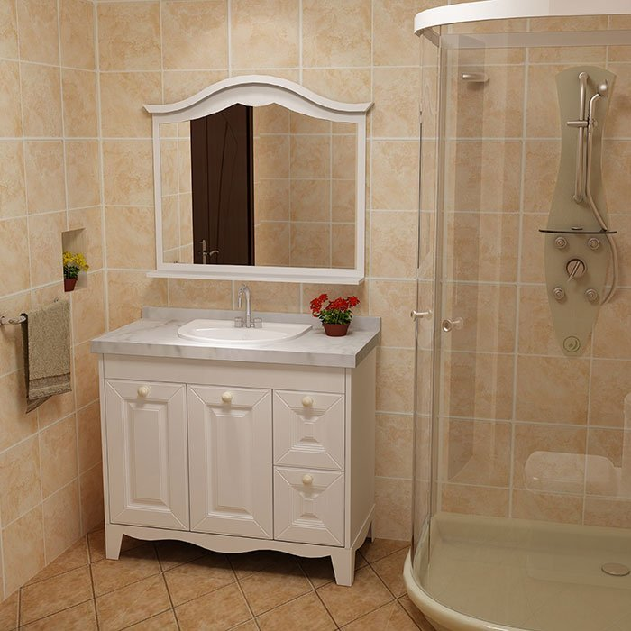 BSYG-03 White Door Bathroom Vanity Whole Set